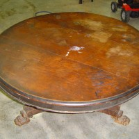 restored antique table before
